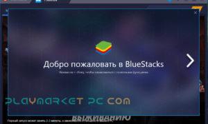 Окно приветствия BlueStacks 0